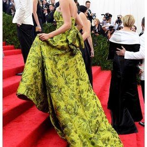 Oscar de la renta gown, green floral size 1